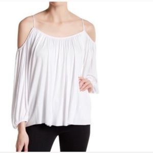 NWOT Bailey 44 cold shoulder gathered top